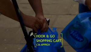 Hook and Go Shopping Cart on Gadget Man  will carry your shopping bags home